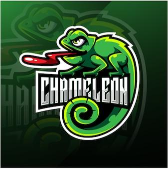 Талисман хамелеон кибер дизайн логотипа