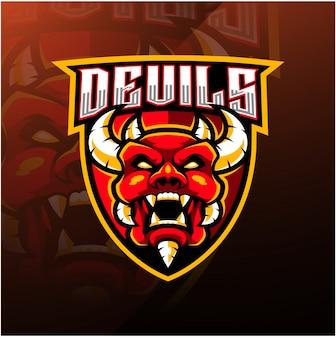 Шаблон логотипа талисмана головы дьявола киберспорта