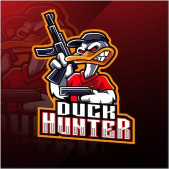 Утка охотник киберспорт талисман дизайн логотипа