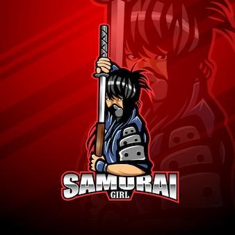 Самурай девушка киберспорт талисман логотип