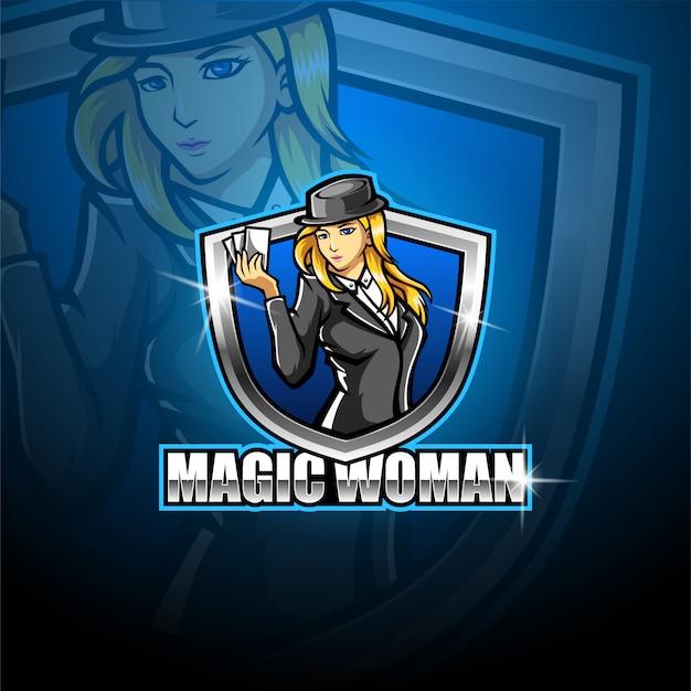 Шаблон логотипа талисмана магии женщин киберспорта