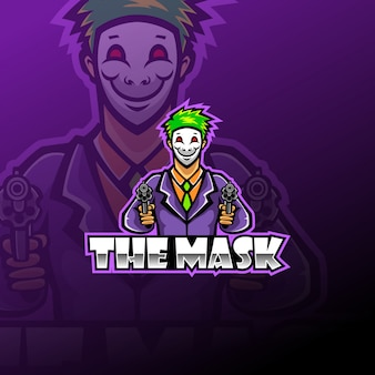 Маска киберспортивный талисман логотип шаблон