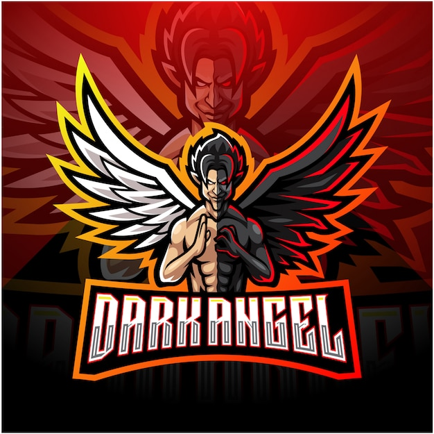 Темный ангел киберспорт дизайн логотипа