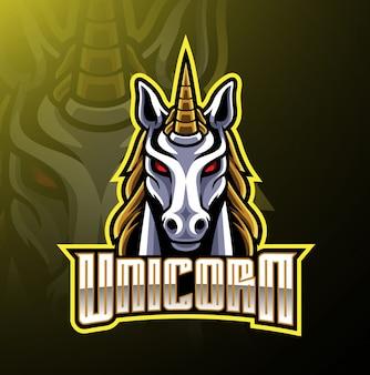 Единорог голова талисман дизайн логотипа