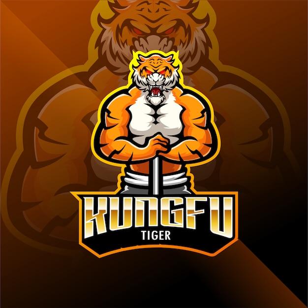 Логотип талисмана кунгфу тигр киберспорт