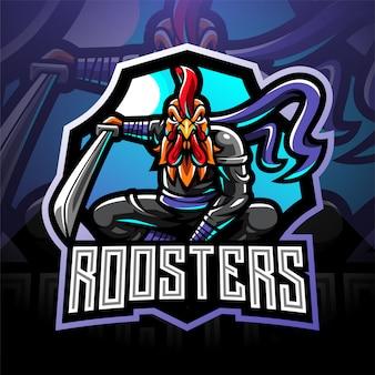 Логотип талисмана ниндзя петух киберспорт