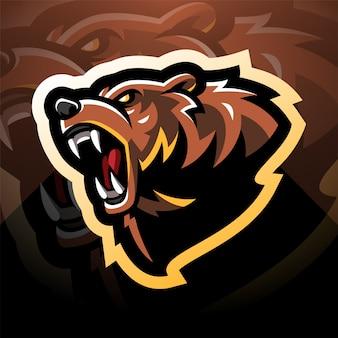 クマの頭のマスコットのロゴデザイン