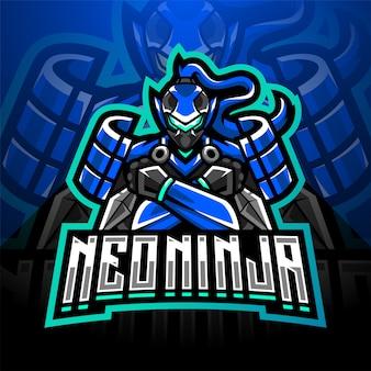 Нео ниндзя киберспорт талисман дизайн логотипа