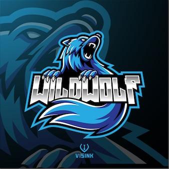 Дикий волк талисман логотип