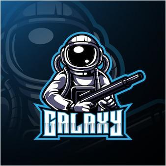 宇宙飛行士と銀河のロゴ