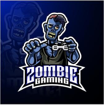 Шаблон логотипа талисмана зомби нежити
