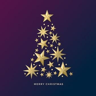 黄金の星から作られたクリスマスツリー