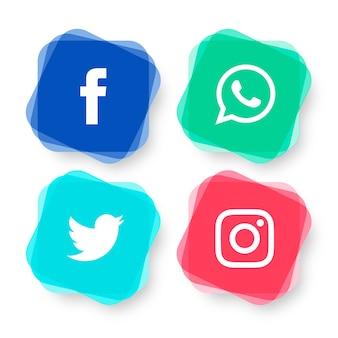 現代のソーシャルメディアロゴタイプセット