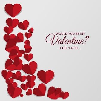 赤の色調でキュートなハートとバレンタインデーの背景