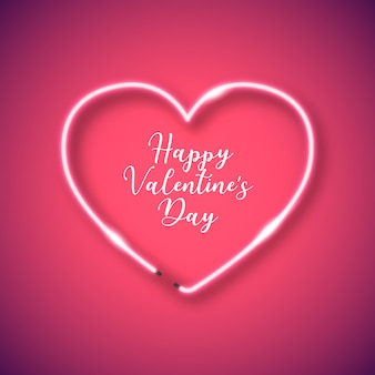 Неоновая сердечная рамка для дня святого валентина