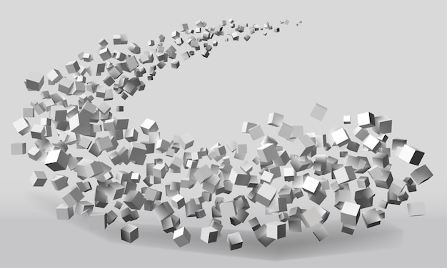 Большое движение, образованное кубами случайных размеров