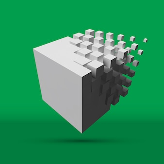 大きなキューブが小さなキューブに溶解