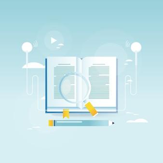 Аудиокнига, онлайн-образование, дизайн векторной иллюстрации для мобильных и веб-графики. электронное обучение, онлайн-тренинги, курсы, интернет-обучение, онлайн-книга, учебники