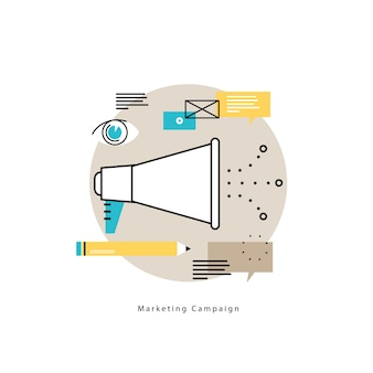 電子メールマーケティング、オンライン広告フラットベクトルイラストデザイン。製品とサービスのプロモーション、マーケティングキャンペーン、モバイルとウェブグラフィックのオンラインコミュニケーションデザイン