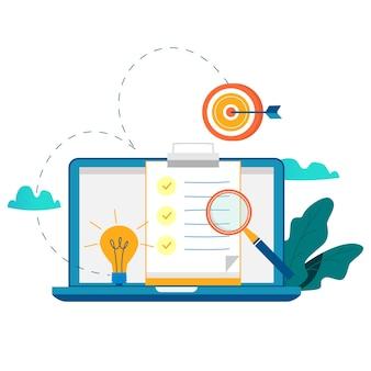 アンケートのクリップボード、評価、企画プロジェクト