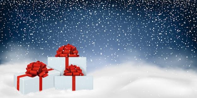 Рождественский фон с зимним пейзажем.