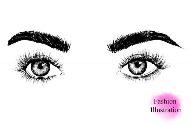 長いまつげの女性の目