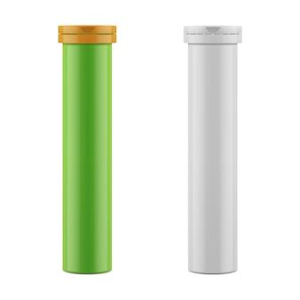 錠剤、丸薬、ビタミン用のボトルとプラスチック製キャップ