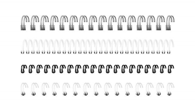 Серебряные, черно-белые спирали для ноутбука