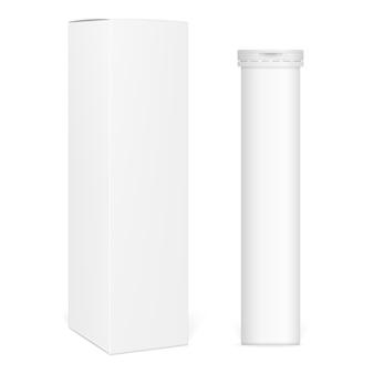 長方形の紙箱とビタミンの包装。