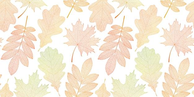 オレンジ、赤、緑の葉とのシームレスなパターン