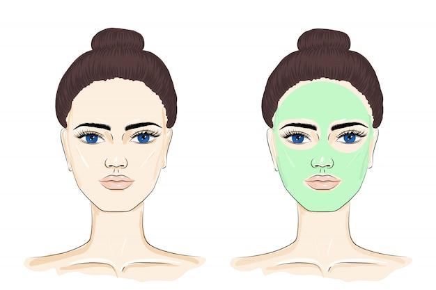 フェイスマスクを持つ女性。
