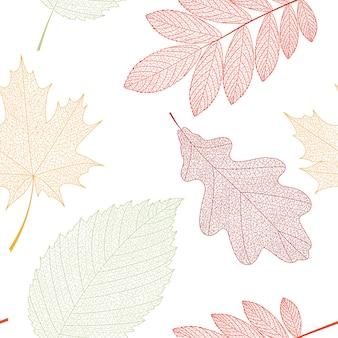 緑、オレンジ、赤の葉とのシームレスなパターン背景。