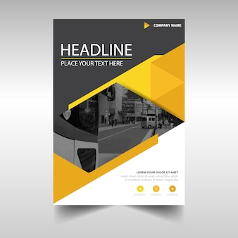 黄色の創造的な年次報告書の表紙のテンプレート