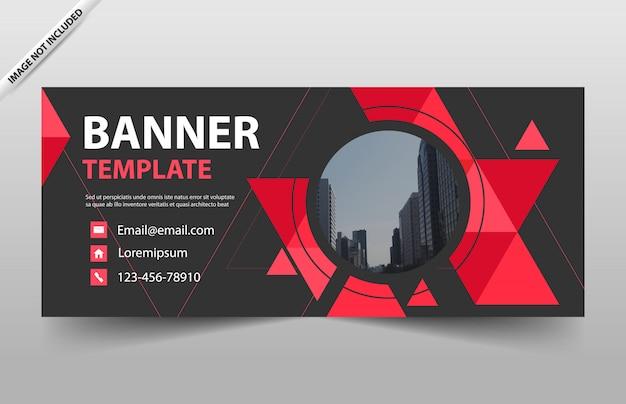 赤い三角形のビジネスバナーデザインテンプレート