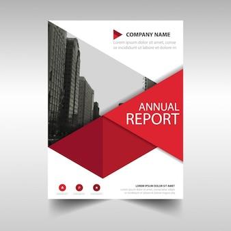レッド幾何学的な年次報告書テンプレート