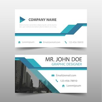Шаблон корпоративная визитная карточка синий треугольник