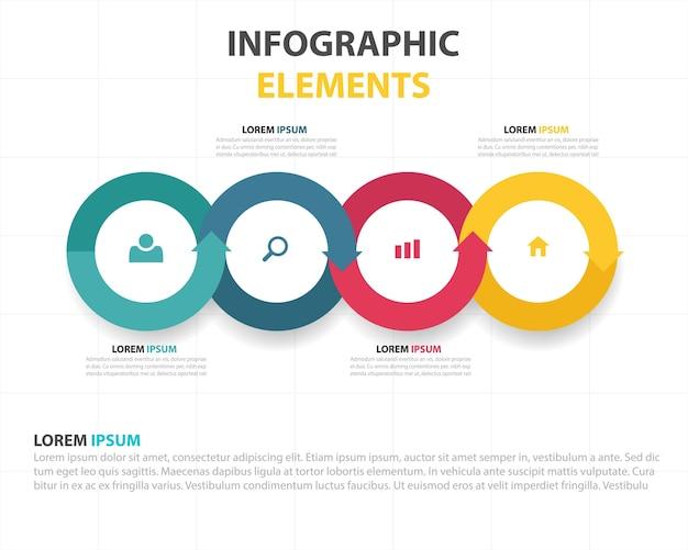 カラフルな抽象的な六角形のビジネスインフォグラフィックテンプレート