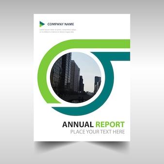 グリーン創造的な年次報告書の表紙のテンプレート