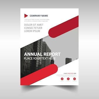 赤い創造的な年次報告書の表紙のテンプレート