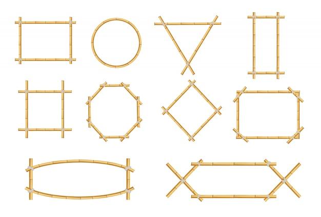 Японский деревенский бамбук знак кадр изолированный набор