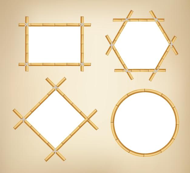 竹フレーム。さまざまな形の木のバナー。日本の素朴な竹サインフレーム。