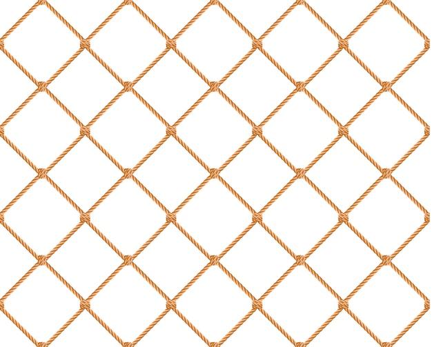 シームレスな航海ロープパターン。ベージュの漁網とマリンノットを備えた無限のネイビー
