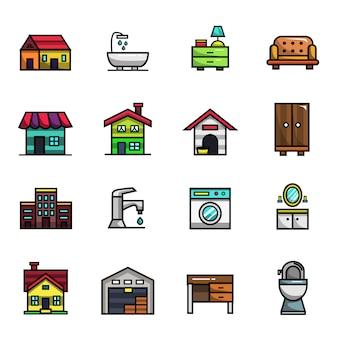 家の装飾や家具の要素フルカラーアイコンセット