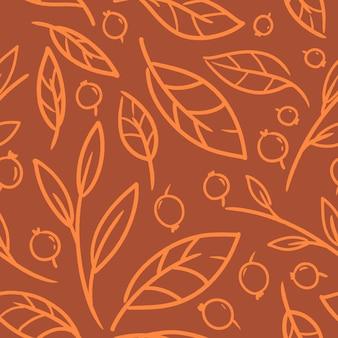 壁紙、包装紙、ファッションプリント、ファブリック、デザインのオレンジ色のシームレスパターンの紅葉。
