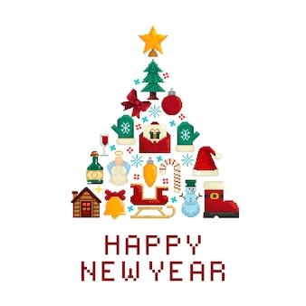 幸せな新年のグリーティングカード。新年の要素で作られたクリスマスツリーの形
