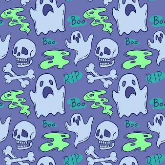 ハロウィーンのパターン。青色の背景にゴーストとスカル。