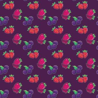 Бесшовный фон с ягодами. черника, клубника и малина. пиксельный рисунок для обоев, оберточной бумаги, для модных принтов, ткани, дизайна.