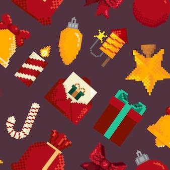 クリスマスをテーマにしたピクセルパターン。壁紙、包装紙、ファッションプリント、ファブリック、デザインのピクセルパターン。