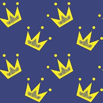 壁紙、包装紙、ファッションプリント、ファブリック、デザインの青に黄色の王冠とのシームレスなパターン。