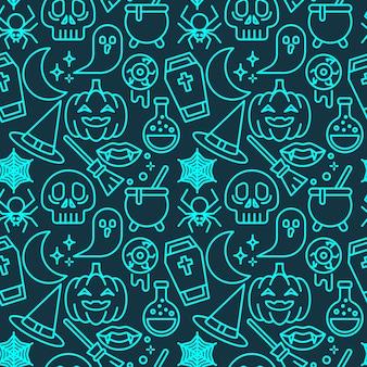 壁紙、包装紙、ファッションプリント、ファブリック、デザインのハロウィーンネオン色シームレスパターン。